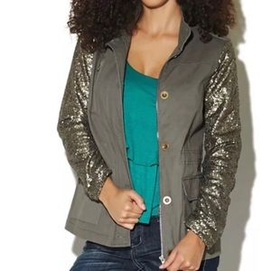 WET SEAL   Sequin Sleeve Utility Army Jacket L